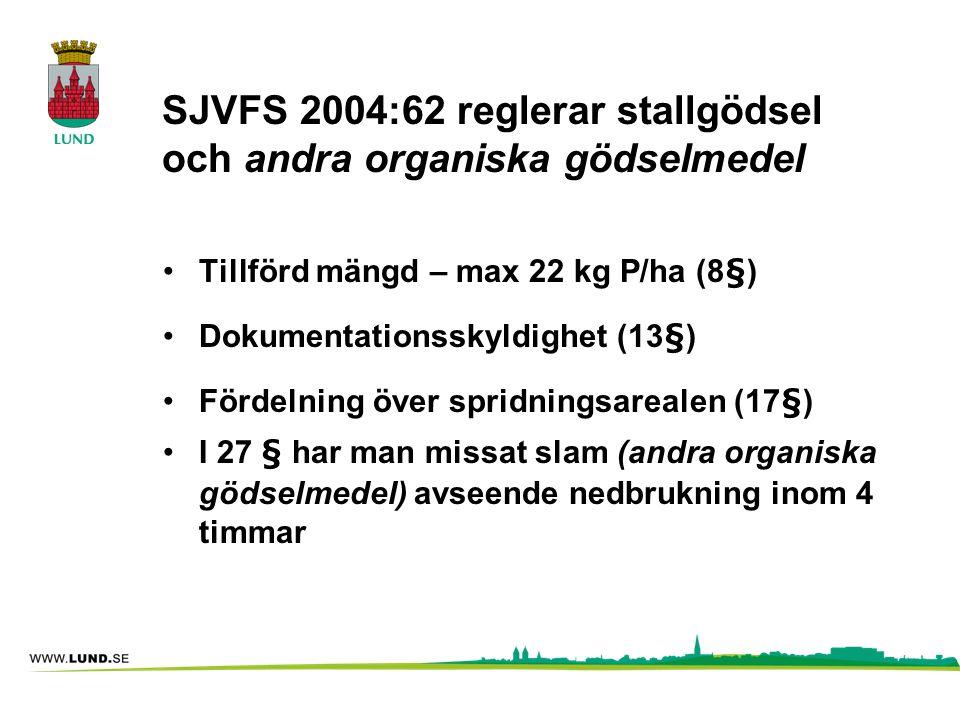 SJVFS 2004:62 reglerar stallgödsel och andra organiska gödselmedel