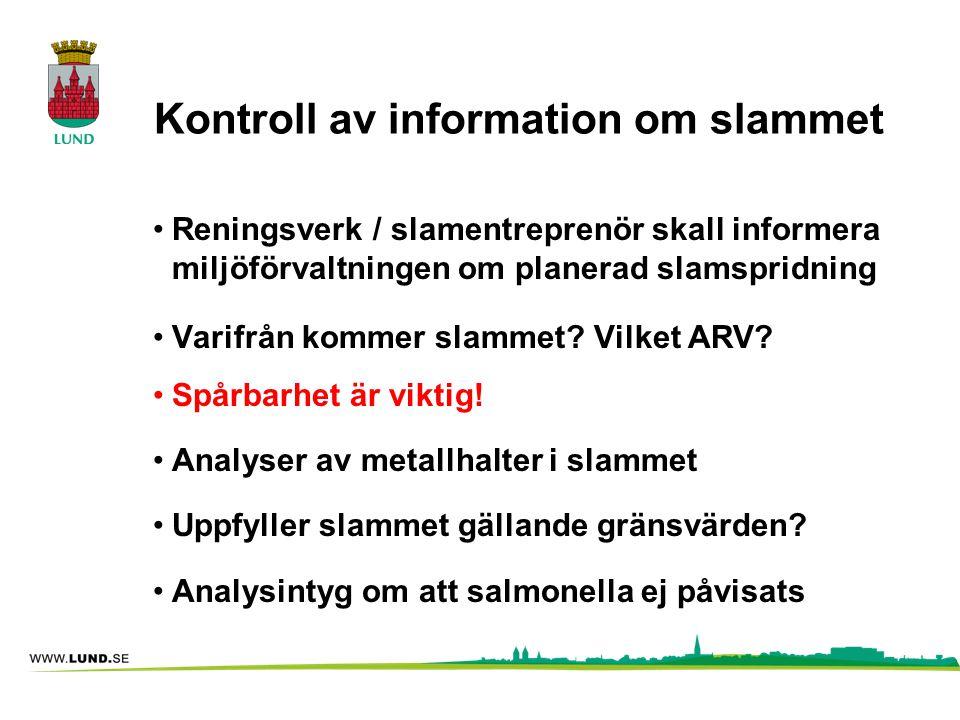 Kontroll av information om slammet