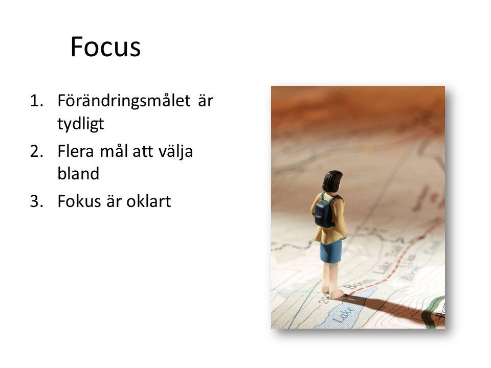 Focus Förändringsmålet är tydligt Flera mål att välja bland