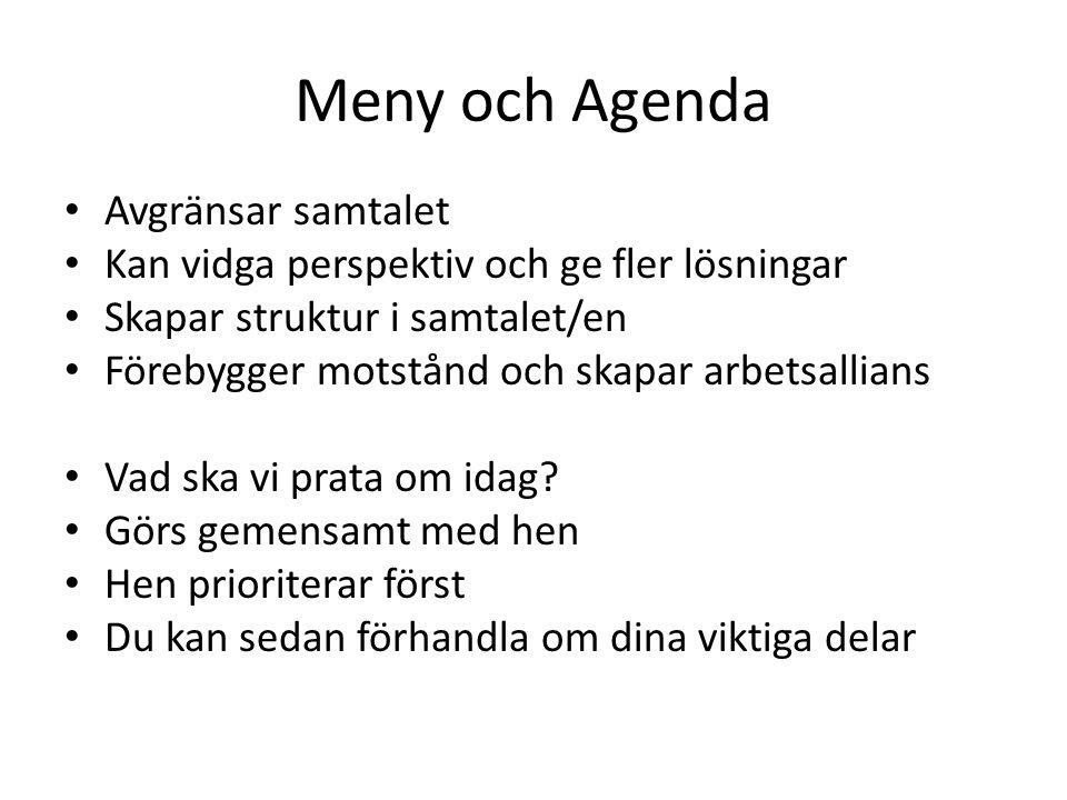Meny och Agenda Avgränsar samtalet