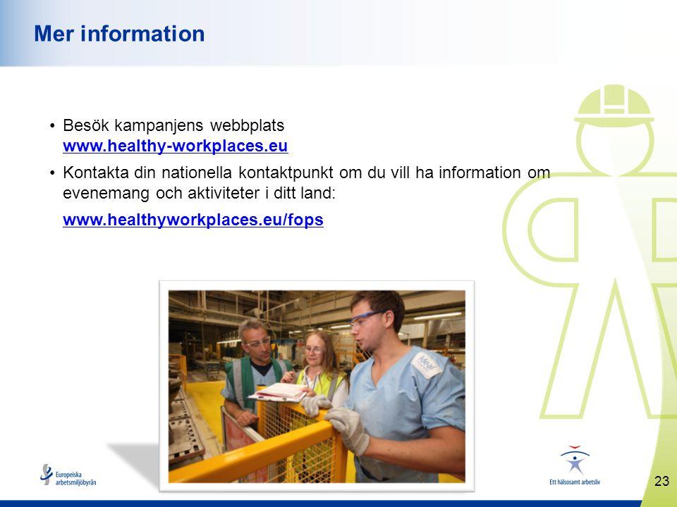 Mer information Besök kampanjens webbplats www.healthy-workplaces.eu