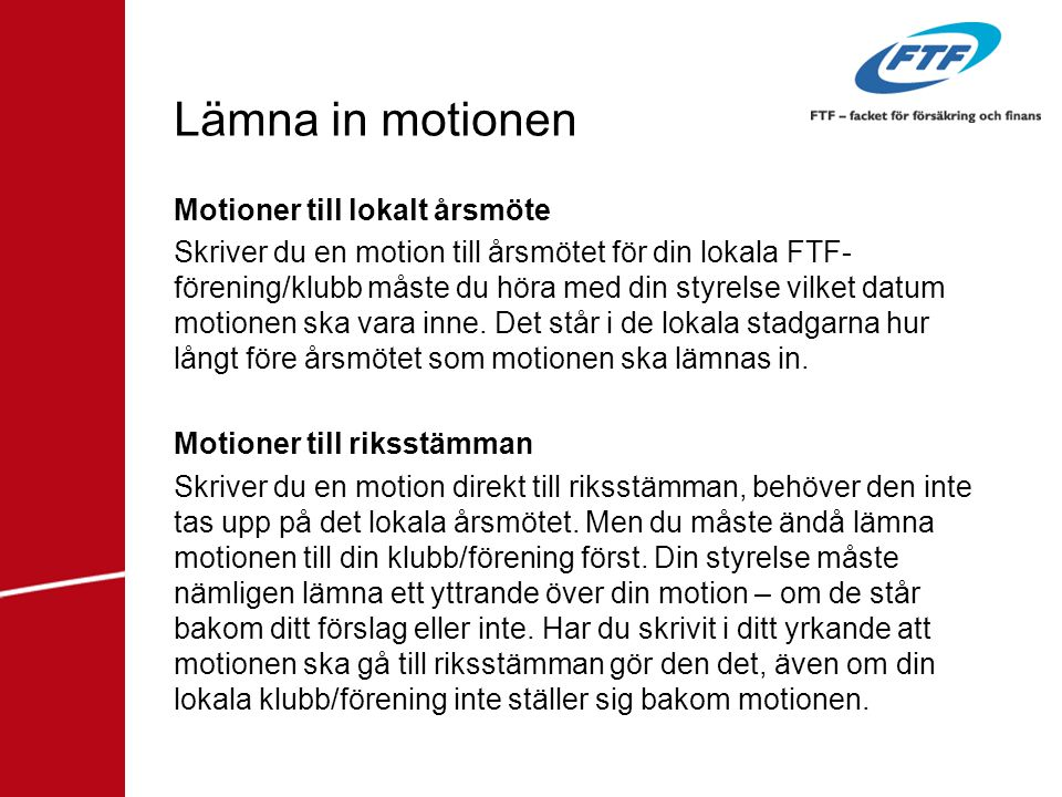 Lämna in motionen