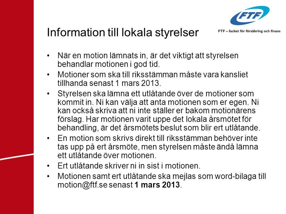 Information till lokala styrelser
