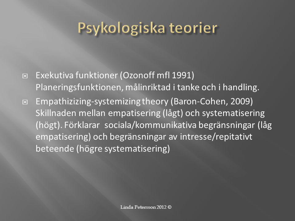 Psykologiska teorier Exekutiva funktioner (Ozonoff mfl 1991) Planeringsfunktionen, målinriktad i tanke och i handling.