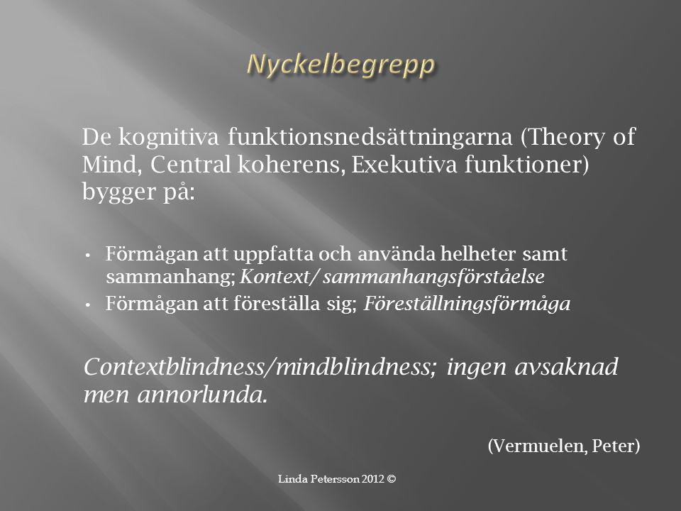 Nyckelbegrepp De kognitiva funktionsnedsättningarna (Theory of Mind, Central koherens, Exekutiva funktioner) bygger på: