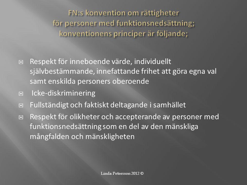 FN:s konvention om rättigheter för personer med funktionsnedsättning; konventionens principer är följande;