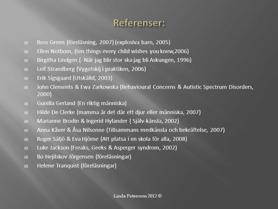 Referenser: Ross Green (föreläsning, 2007) (explosiva barn, 2005)