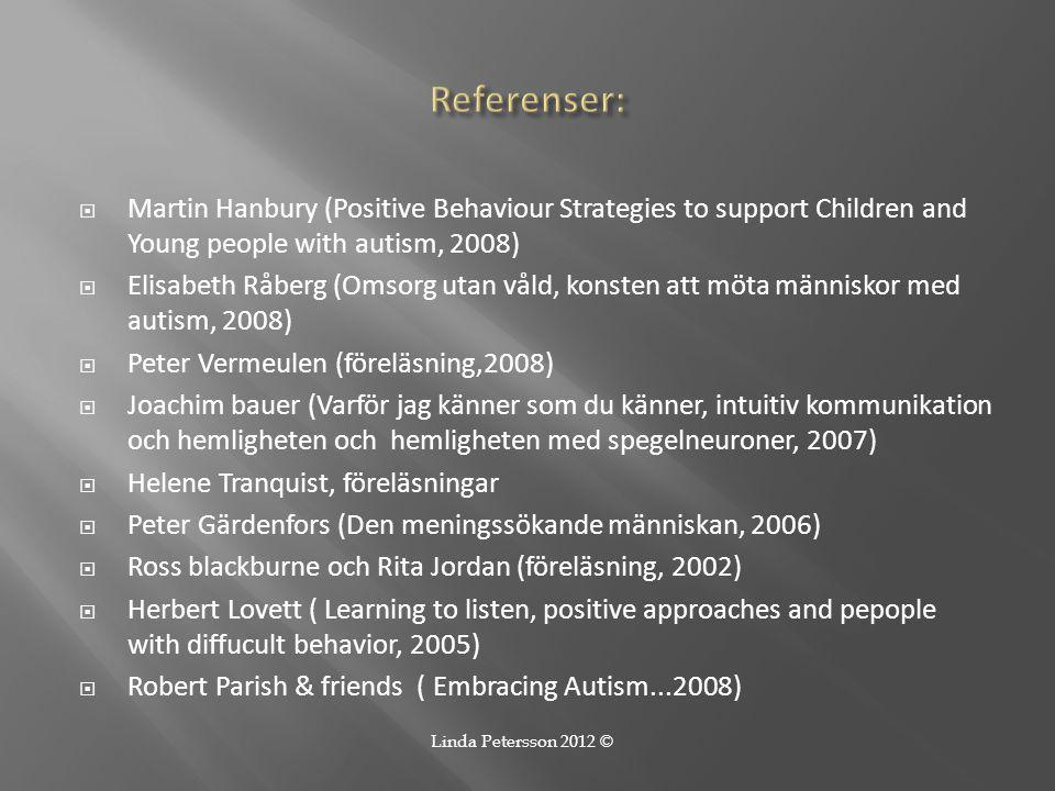 Referenser: Martin Hanbury (Positive Behaviour Strategies to support Children and Young people with autism, 2008)