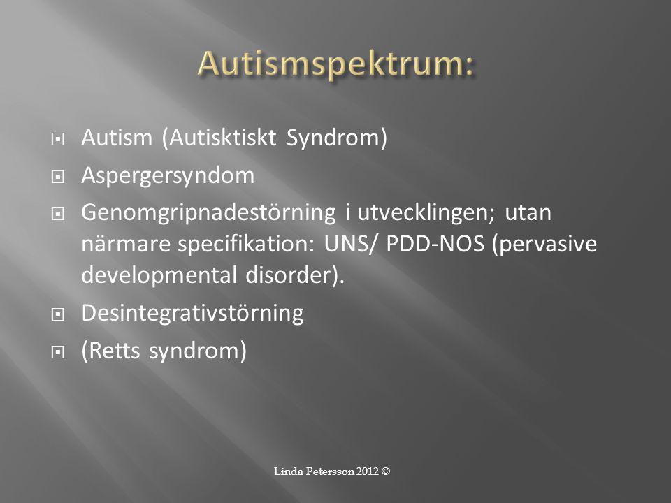 Autismspektrum: Autism (Autisktiskt Syndrom) Aspergersyndom