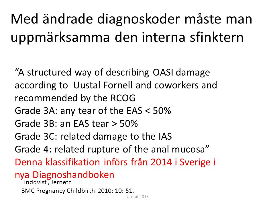 Med ändrade diagnoskoder måste man uppmärksamma den interna sfinktern