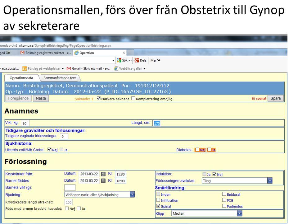 Operationsmallen, förs över från Obstetrix till Gynop
