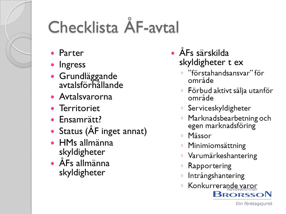 Checklista ÅF-avtal Parter Ingress Grundläggande avtalsförhållande