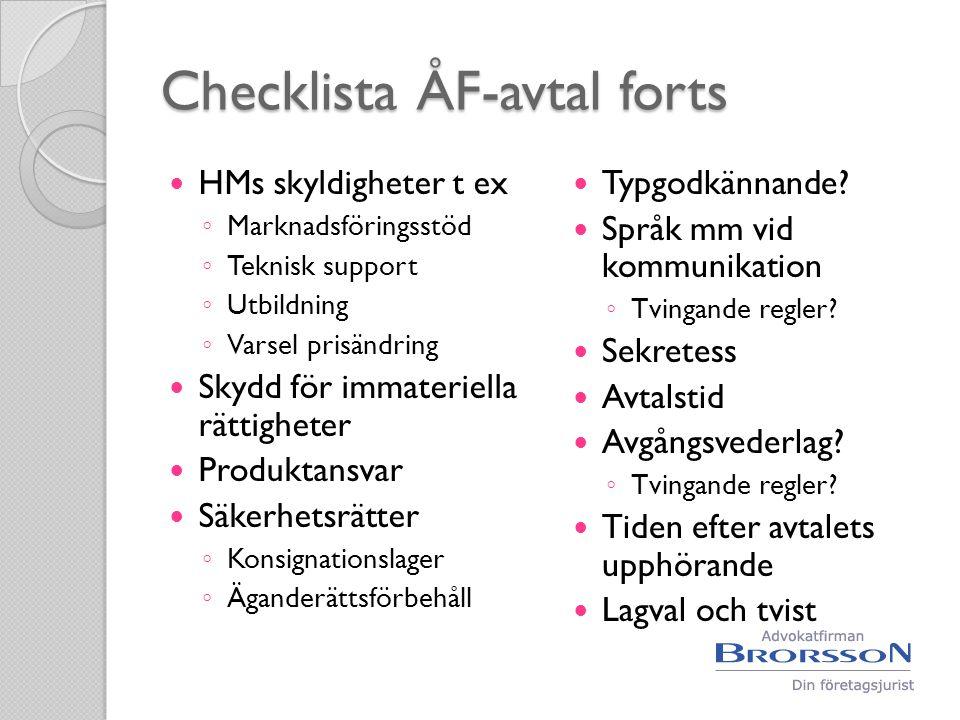 Checklista ÅF-avtal forts