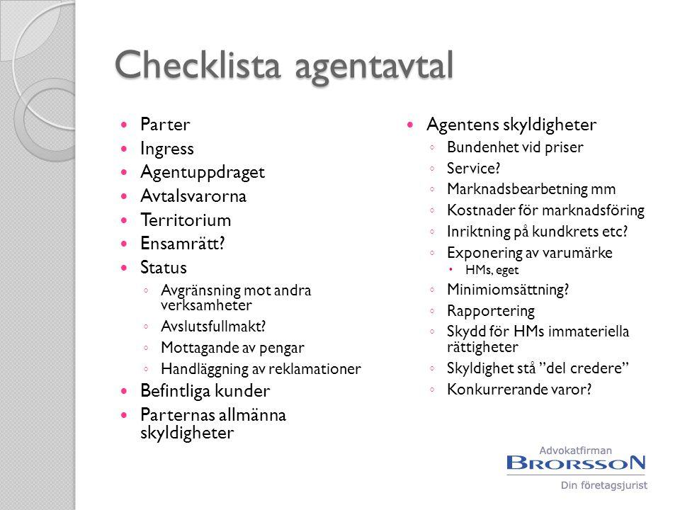 Checklista agentavtal