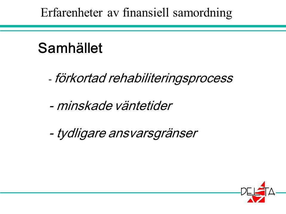 Erfarenheter av finansiell samordning
