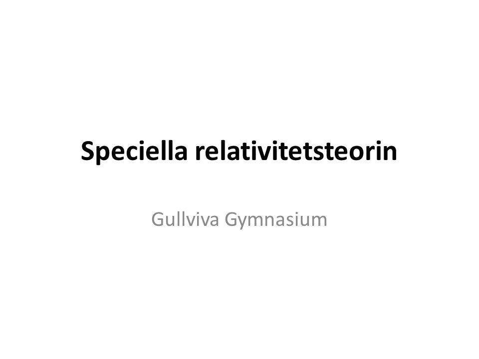 Speciella relativitetsteorin