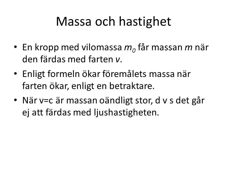 Massa och hastighet En kropp med vilomassa m0 får massan m när den färdas med farten v.