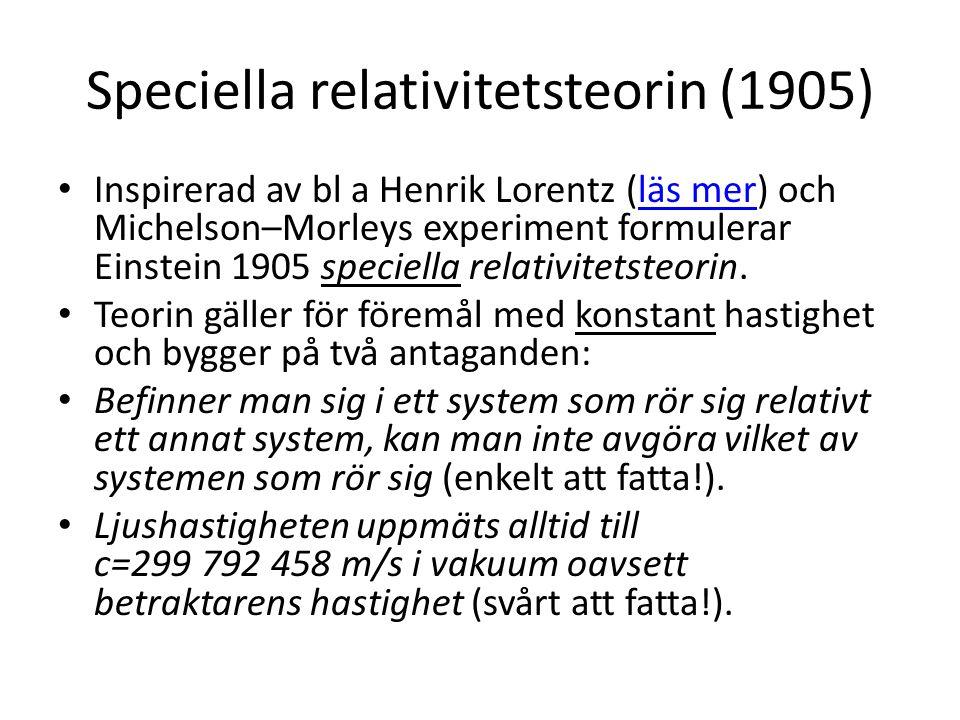 Speciella relativitetsteorin (1905)