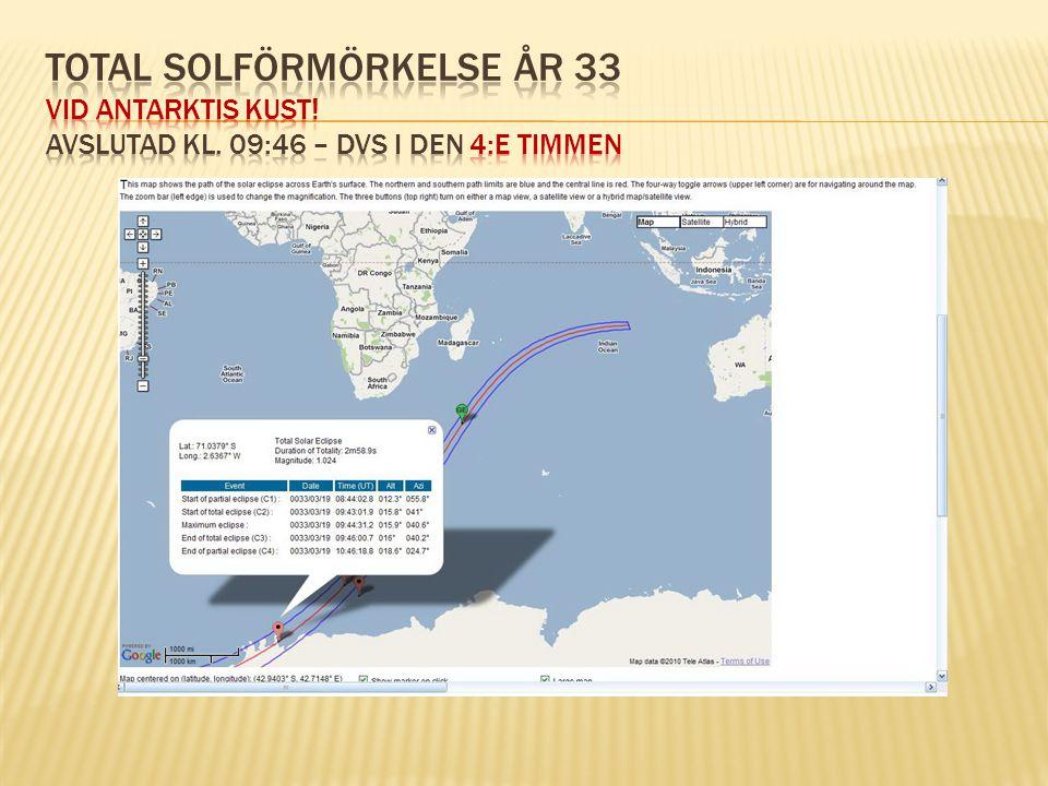 Total solförmörkelse år 33 vid Antarktis kust. avslutad kl