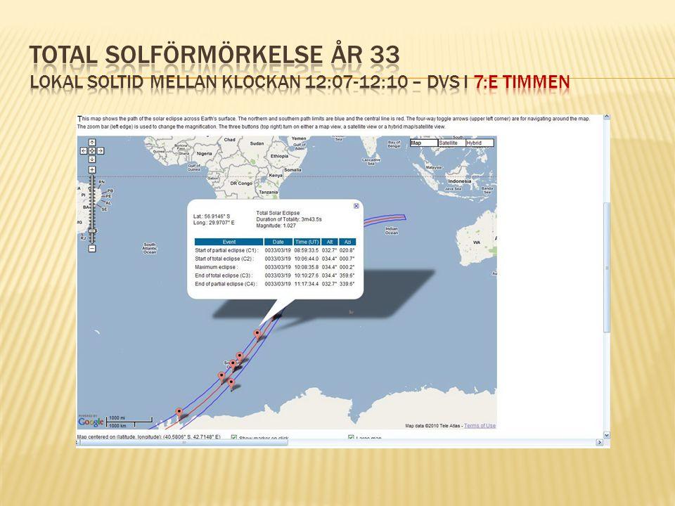 Total solförmörkelse år 33 lokal soltid mellan klockan 12:07-12:10 – dvs i 7:e timmen