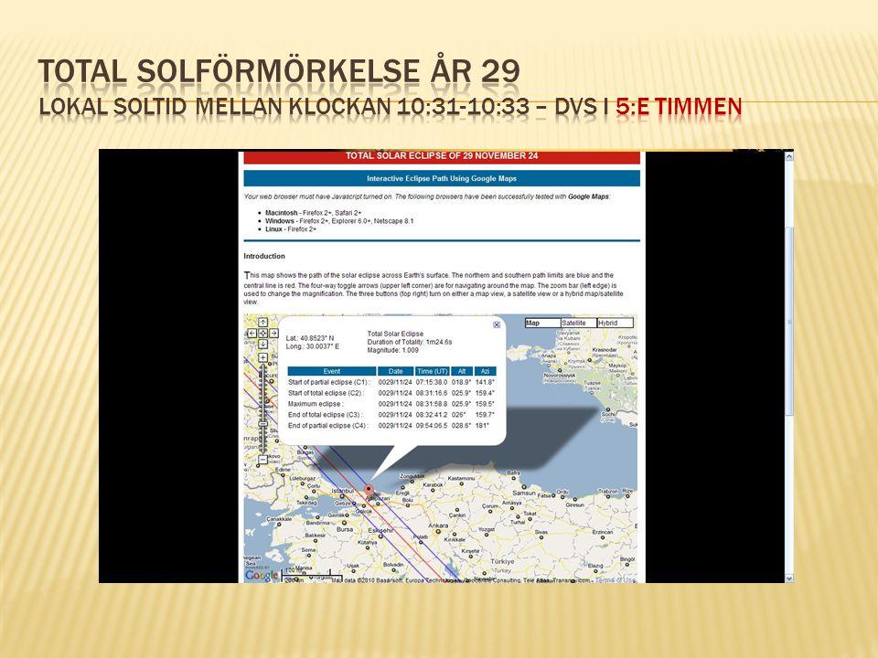 Total solförmörkelse År 29 lokal soltid mellan klockan 10:31-10:33 – dvs i 5:e timmen