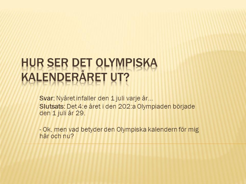 Hur ser det Olympiska kalenderåret ut