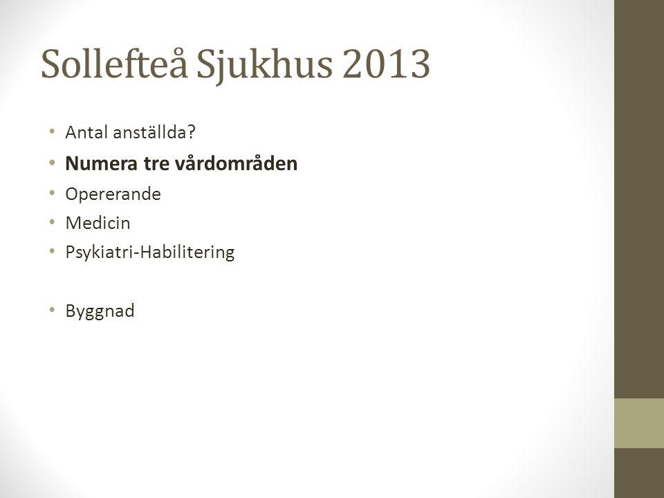 Sollefteå Sjukhus 2013 Numera tre vårdområden Antal anställda