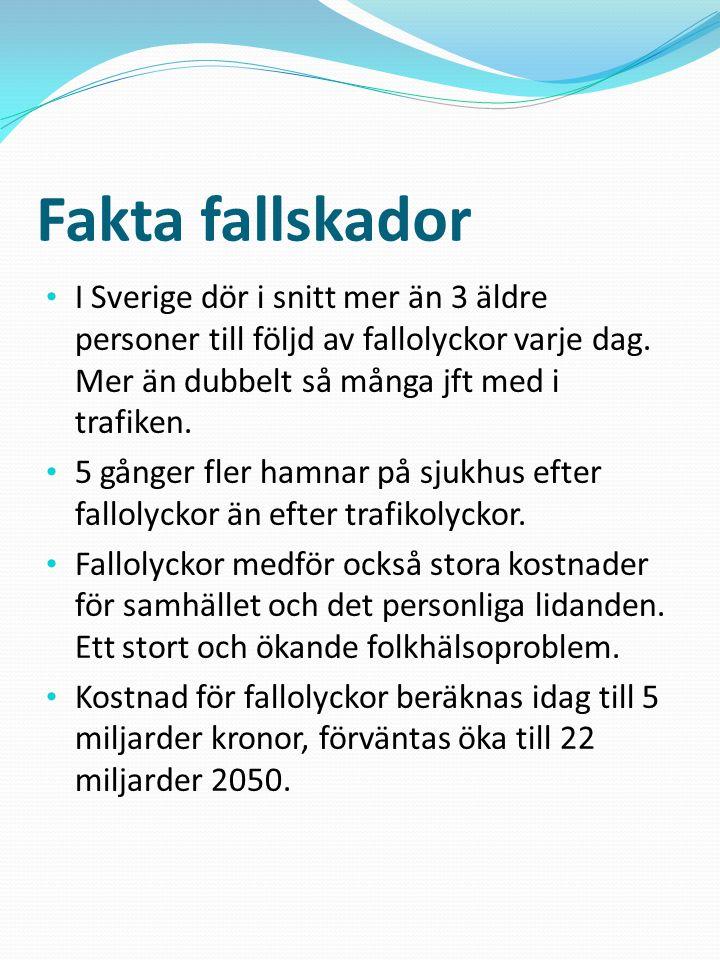 Fakta fallskador I Sverige dör i snitt mer än 3 äldre personer till följd av fallolyckor varje dag. Mer än dubbelt så många jft med i trafiken.