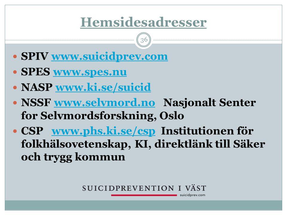 Hemsidesadresser SPIV www.suicidprev.com SPES www.spes.nu