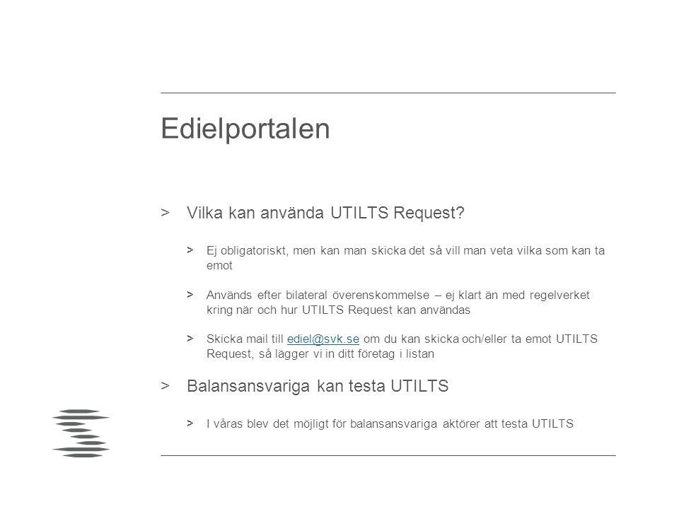 Edielportalen Vilka kan använda UTILTS Request