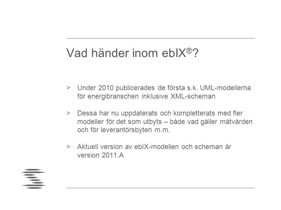 Vad händer inom ebIX® Under 2010 publicerades de första s.k. UML-modellerna för energibranschen inklusive XML-scheman.