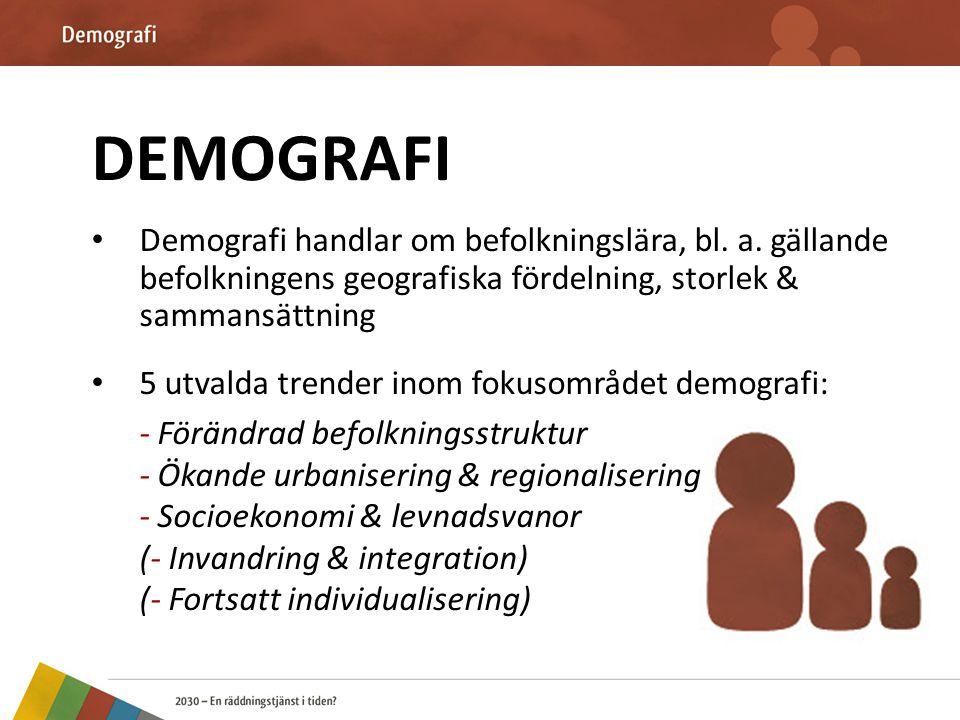 DEMOGRAFI Demografi handlar om befolkningslära, bl. a. gällande befolkningens geografiska fördelning, storlek & sammansättning.