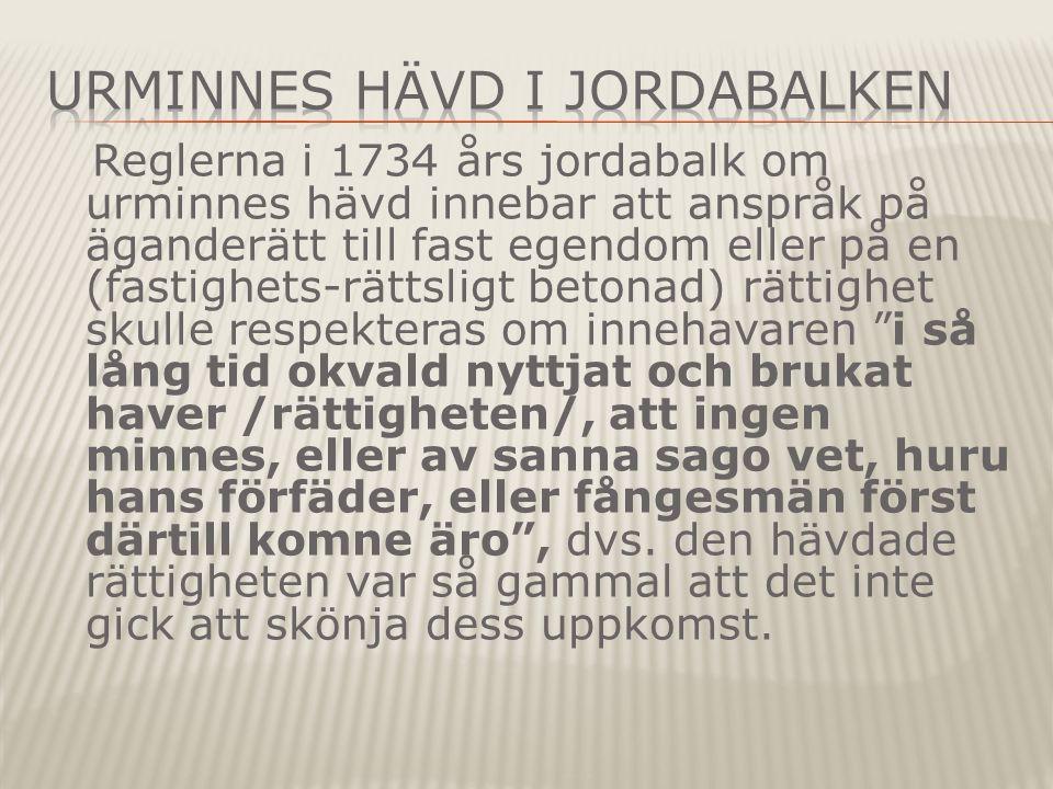 Urminnes hävd i Jordabalken