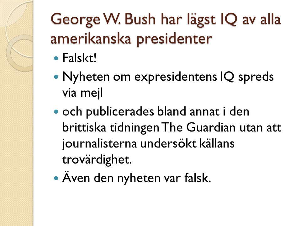 George W. Bush har lägst IQ av alla amerikanska presidenter