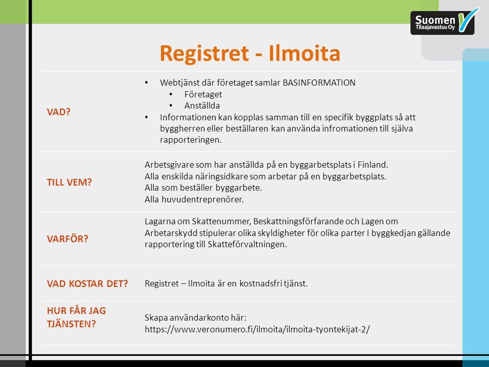 Registret - Ilmoita VAD TILL VEM VARFÖR VAD KOSTAR DET