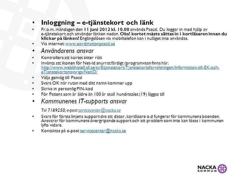 Inloggning – e-tjänstekort och länk