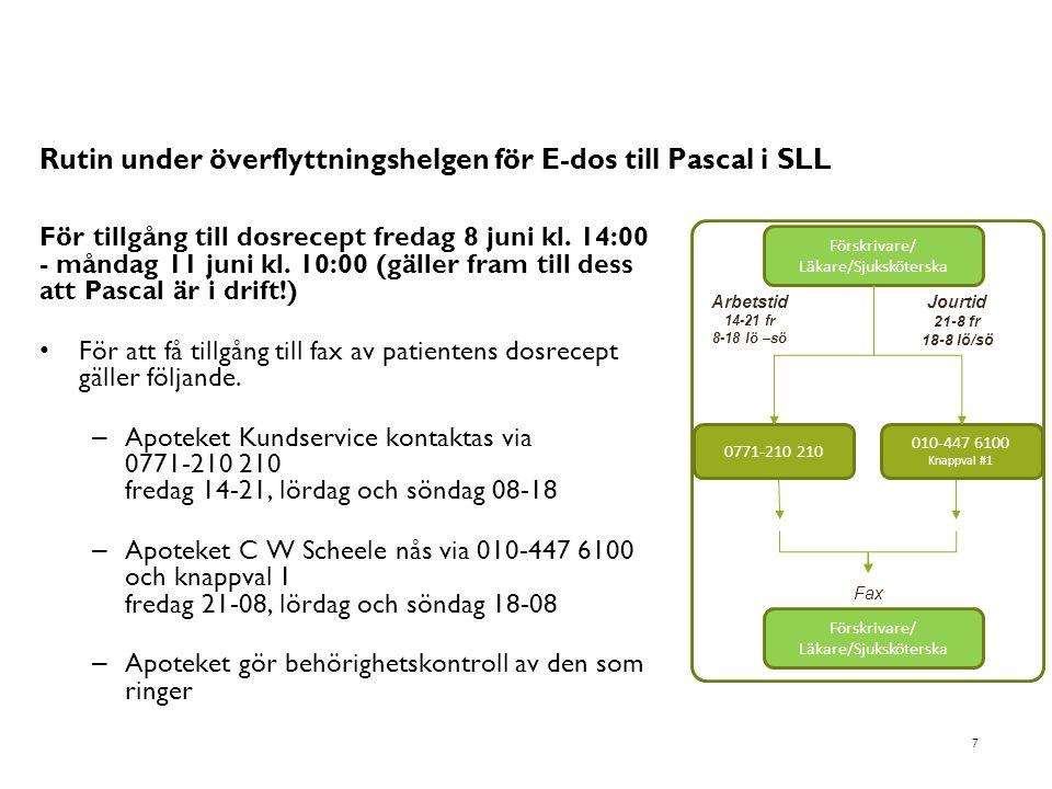 Rutin under överflyttningshelgen för E-dos till Pascal i SLL