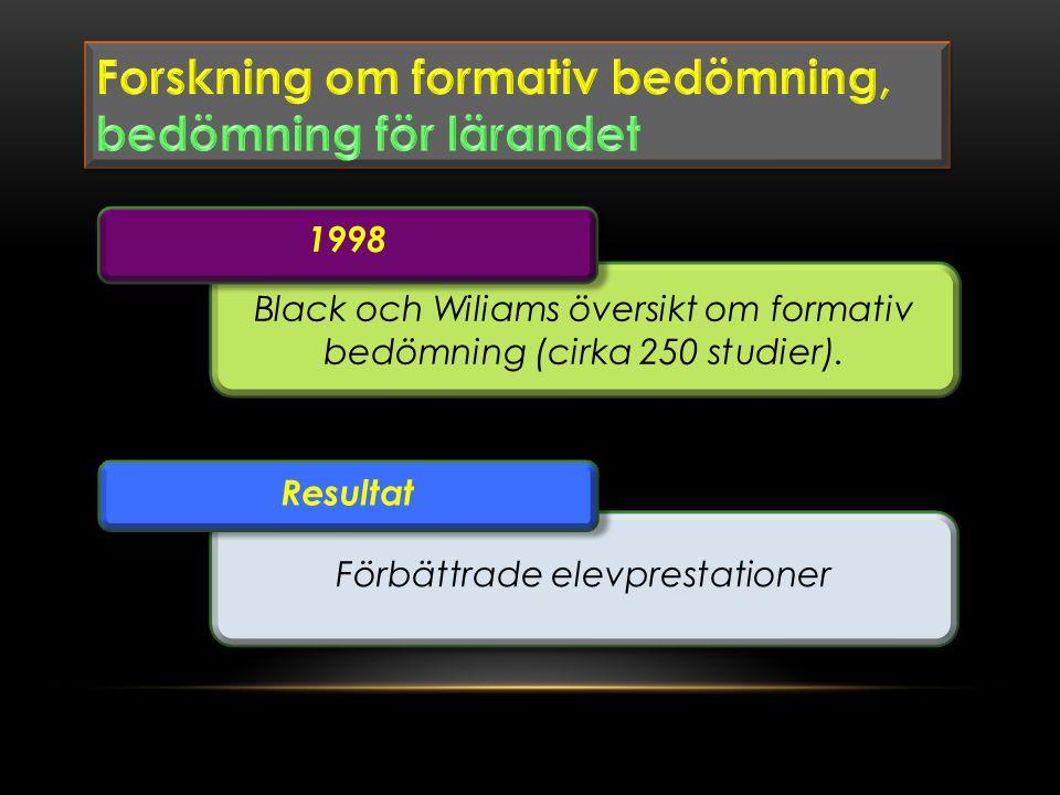 Forskning om formativ bedömning, bedömning för lärandet