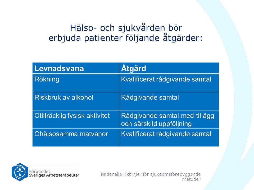 Hälso- och sjukvården bör erbjuda patienter följande åtgärder: