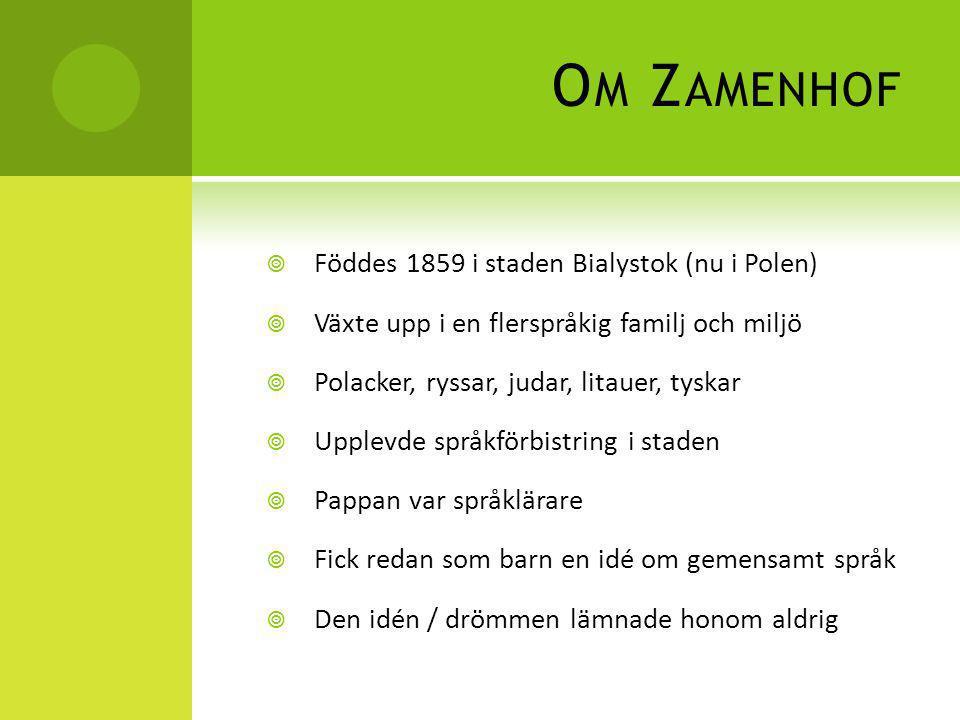 Om Zamenhof Föddes 1859 i staden Bialystok (nu i Polen)