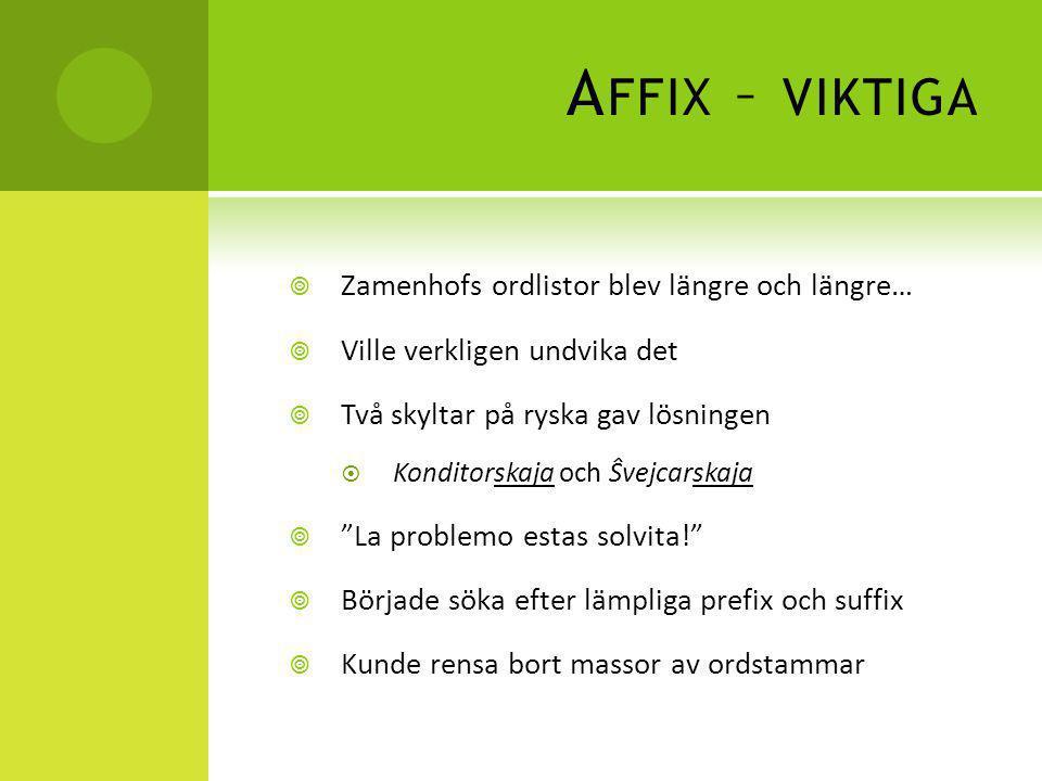 Affix – viktiga Zamenhofs ordlistor blev längre och längre…