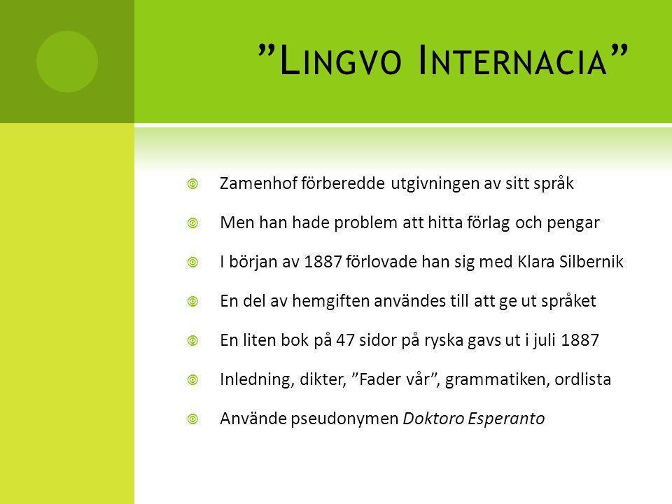 Lingvo Internacia Zamenhof förberedde utgivningen av sitt språk