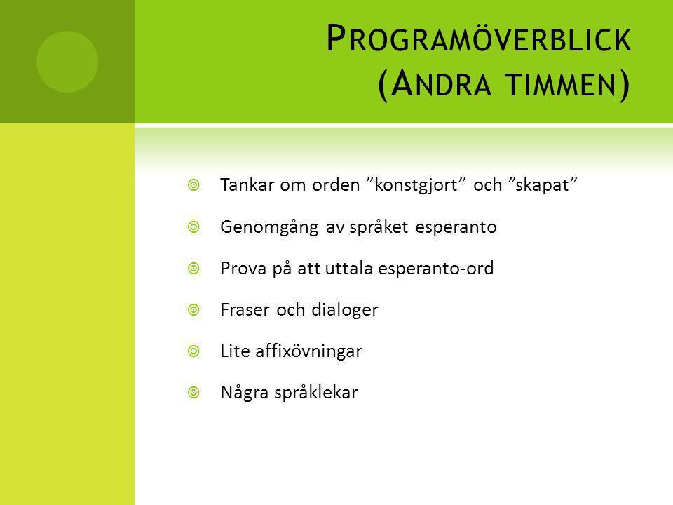 Programöverblick (Andra timmen)
