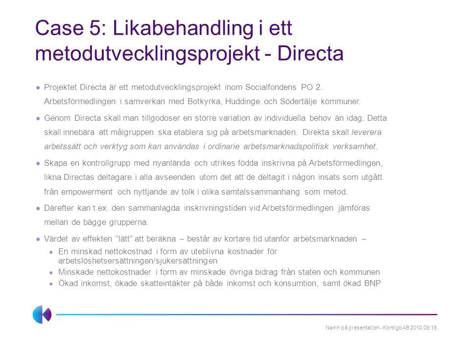 Case 5: Likabehandling i ett metodutvecklingsprojekt - Directa