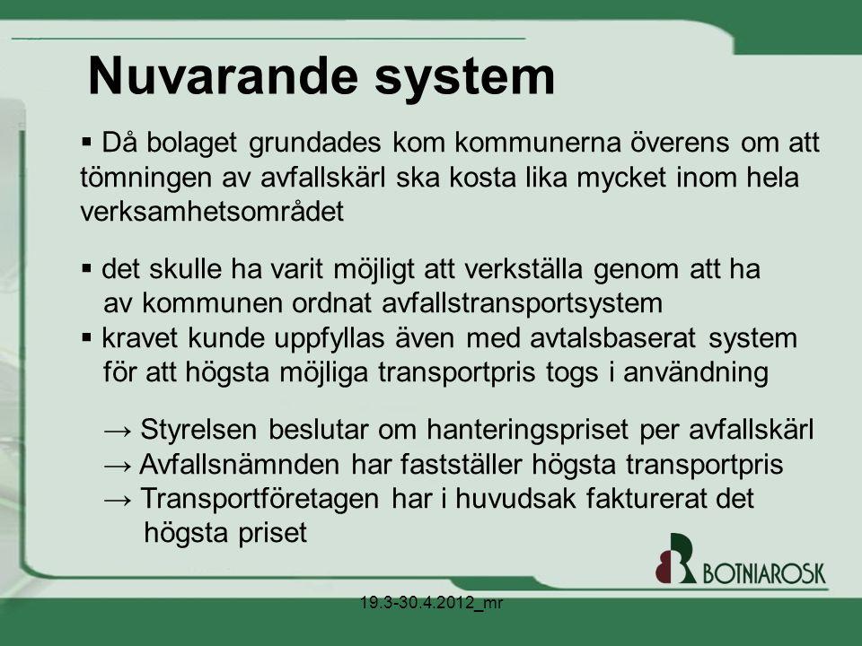 Nuvarande system Då bolaget grundades kom kommunerna överens om att tömningen av avfallskärl ska kosta lika mycket inom hela verksamhetsområdet.