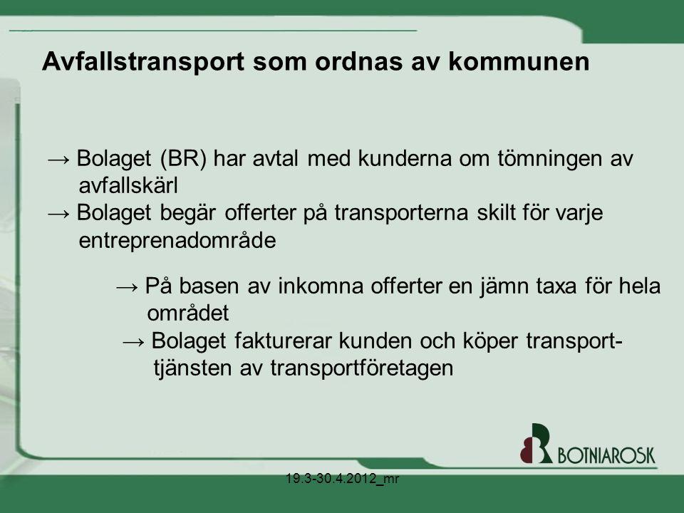 Avfallstransport som ordnas av kommunen