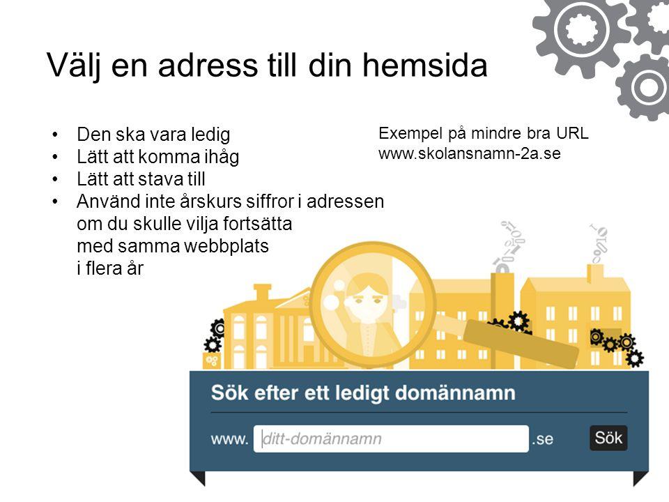 Välj en adress till din hemsida