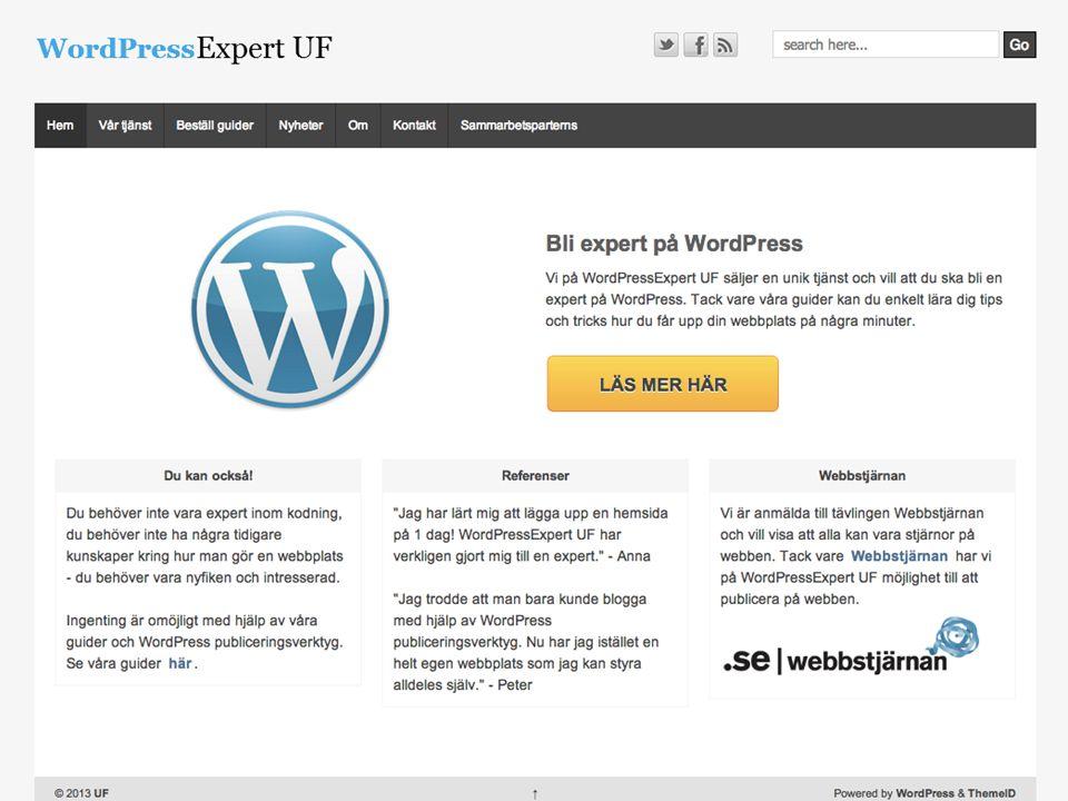 uf.wpskola.se > Exempel på UF-sajt, det vanliga är statiska sidor och främst sälja på startsidan dvs strukturen baseras på sidor