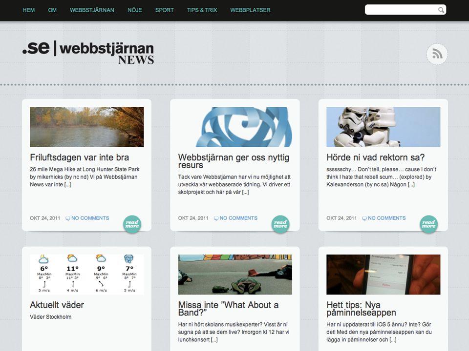 Tidning.wpskola.se, arbetar också med kategorier/etiketter = inlägg för att få ett flöde.