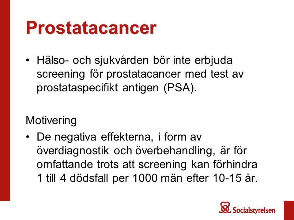 Prostatacancer Hälso- och sjukvården bör inte erbjuda screening för prostatacancer med test av prostataspecifikt antigen (PSA).